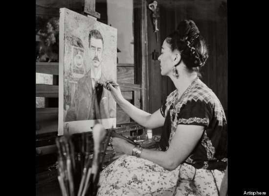 Frida paints her father, himself a successful photographer (who did a lot of self portraits.)